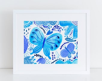 8x10 Giclee Art Print, Butterfly Wall Art, Watercolor Painting,  Kid's Room Art, Nursery Wall Art, Gift for Her, Baby Shower Gift, Blue