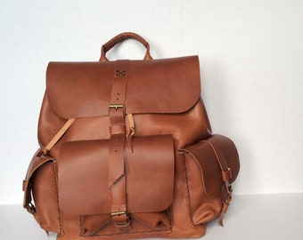 Mens Solid Leather Backpack-Large Rustic Brown Backpack-Top Handle Weekend Overnight Backpack-Custom Backpack