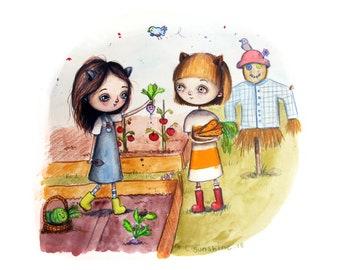 Cute Little Garden Friends, Happy, Sunny, lovely, magical kids prints