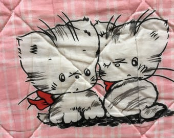 Vintage Baby Blanket, Pink Kittens Quilted Crib Blanket, Vintage Cats, Kitty Blankie Throw