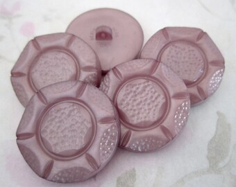 5 pcs. vintage purple plastic flower shank coat buttons 35mm - b101