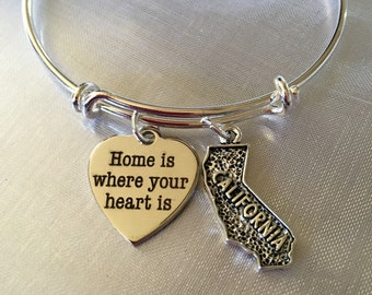 California-Home is where your heart is-Bangle bracelet