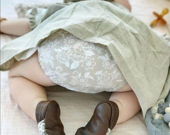 Baby bloomers,  tan floral bloomers, diaper cover, ready to ship