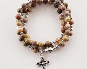 Matte Jasper Stretch Rosary Bracelet