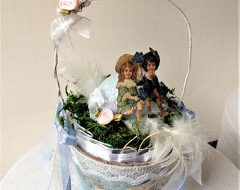 Easter Sale - Shabby Chic Handmade Easter/Spring Altered Peat Pot Basket with Vintage Children and Gift Tag