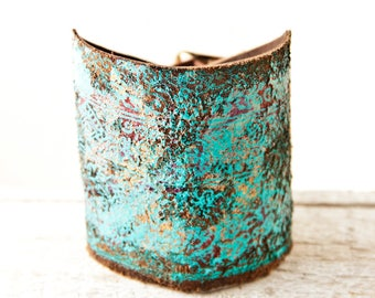 Turquoise Bracelet Leather Jewelry Leather Cuffs Bracelets for Women Gift