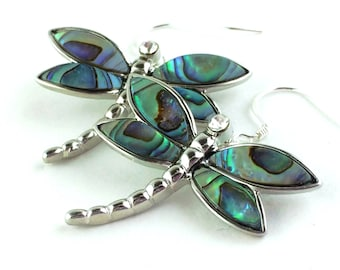 Dragonfly Jewelry Abalone Earrings Dragonfly Earrings Mother of Pearl Earrings Sterling Silver Dragon Fly Earrings Nature Jewelry