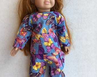 """2 piece cotton pajamas fit 18"""" doll such as American girl."""