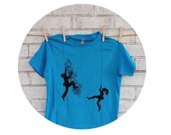 Youth Climbing Tshirt, Short Sleeved Cotton Crewneck Graphic Tee Shirt, Hand Printed, Screenprinted Shirt, Bright Turquoise Blue, Fitness
