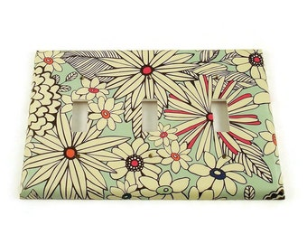 Triple Switch Plate Light Switch Cover  Switchplate in  Sketch Flower  (142T)