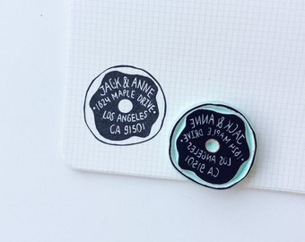 Donut address stamp. address stamp. donut stamp. handcarved stamp. rubber stamps. mounted.