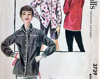 "McCall's 3739 Mannish Button Front ""Shirt"" Jacket - CA. 1956 / SZ12 B30 UNCUT"