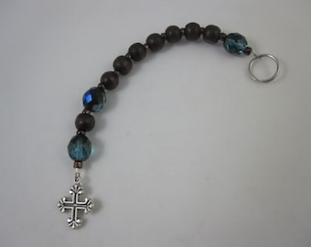 Wood and Teal Fire-Polished Glass Prayer Strand