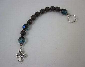 Wood and Teal Fire-Polished Glass Prayer Strand