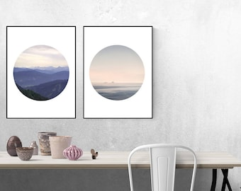 Poster Set, Nature Inspired, Mountain Print Set, Wall Prints, Set Of 2 Prints, Gallery Wall Set, Two Piece Set, Wall Art, Wall Art Set, Art