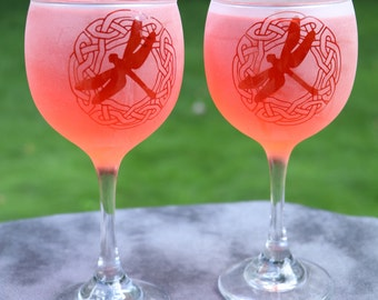Etched Celtic Dragonfly totem red wine glasses inspired by Outlander