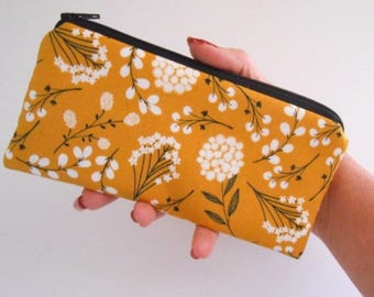 Zipper Pouch for Phone Large Cosmetic Zipper Pouch Clutch ECO Friendly Padded NEW SIZE Mustard Floral Toss