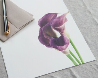 Letter Writing Paper / Purple Callas / Letter Paper / Letter Writing Set / Personalized Gift