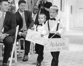 Here comes your bride, custom ringbearer wedding sign, rustic wood wedding sign to carry down aisle