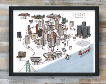 Detroit Skyline map art print.