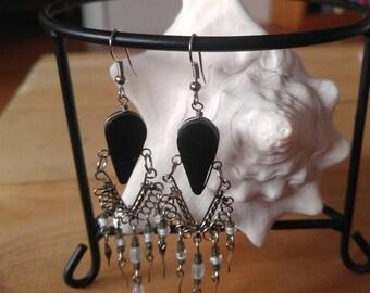 Black stone cascade earrings