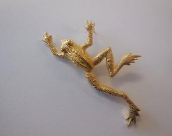 Vintage Pin Frog Yellow Gold Tone Metal Rhinestones Brooch Animals Todd