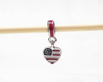 Patriotic Red White and Blue Heart Flag Charm For European Charm Bracelets 22mm x 8mm B00037