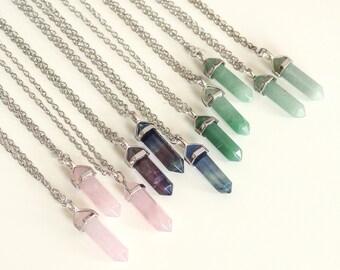 Aventurine Pastel Green Quartz Crystal Necklace -Healing Jewellery-Vintage Silver Gold-Bullet Stone Boho Turquoise Jewelry-Semi Precious