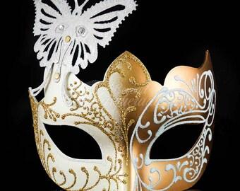Masquerade Mask, Masquerade Mask, Butterfly Mask, Gold/White Mask, Wedding Masquerade Mask, Mardi Gras Masquerade Mask