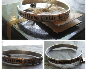 Personalized Hand Stamped Cuff Bracelet-Horse Quote-Equestrian Jewelry