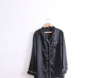 Silky Black Pajama Blouse