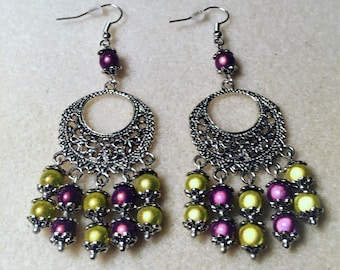 """""""The orient in yellow and purple"""" earrings"""