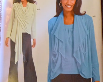 Knit Top Sewing Pattern Simplicity 1229 Misses' Pullover Knit Top with Wrap Bust 29-46  UNCUT Complete