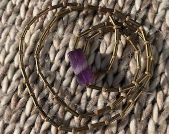Amethyst Necklace / Amethyst Jewelry / Simplistic Necklace / Layered Necklace / Long Necklace / Boho Necklace / Bohemian Necklace / Festival