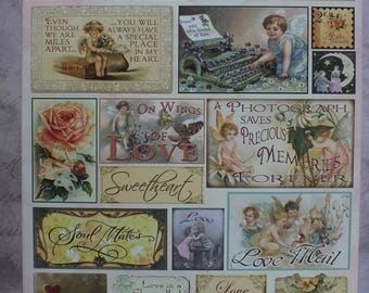 19 images decoupage glossy Valentine's day vintage shabby chic love scrapbooking cardmaking