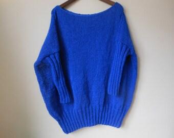 Oversized Plus Size Hand Knit Sweater Tunic Loose Knit Women's Sweater Cobalt
