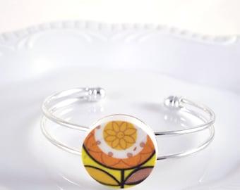 Recycled China Cuff Bracelet - Orange and Yellow