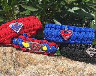 Superman Paracord Bracelet, .925 sterling silver S charm and more
