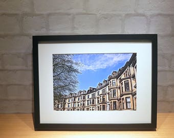 Glasgow west end, Iconic tenements, Anthole Gardens, Glasgow tenements, Tenement row, A4 or A3 Framed Print