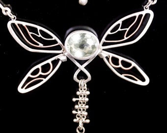 Dragonfly Necklace with Green Amethyst