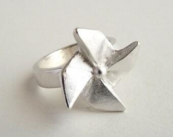 Origami Pinwheel Ring Sterling Silver Pinwheel Ring Origami Windmill Ring Origami Jewelry