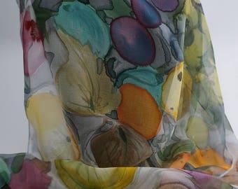 Chiffon scarf silk handpainted scarf, mothers, forbidden fruit