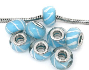 x 1 Pearl Europeans turquoise glass lampwork 14 * 10 mm