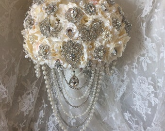 Ivory & Blush Brooch Bouquet, Rush Orders Welcome, Reserve with 150.00 deposit, Made in USA