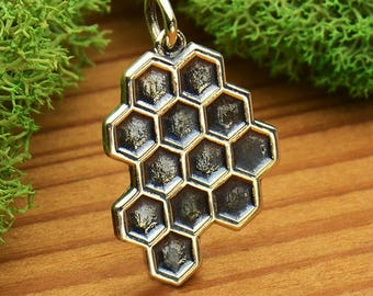 Sterling Silver Honeycomb, Honey Bee, Solid Honeycomb Charm, Honeybee Charm, Silver Honeybee, Silver Honeycomb, Bee Hive Charm, Silver Hive
