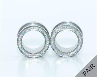 Iridescent glitter tunnel plugs / 8g, 6g, 4g, 2g, 0g, 00g, 7/16, 1/2, 9/16, 5/8, 11/16, 3/4, 7/8, 1 inch / sparkle tunnel gauges