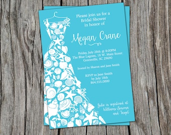 Beach Bridal Shower Invitations, Seashell Dress, Elegant Sea Shell, Printable or Printed