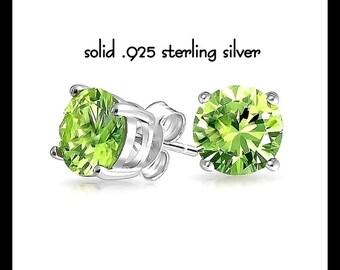 Peridot Earrings, Silver Peridot Studs, August Birthstone Earrings, CZ Green Post Earrings, Silver Peridot Jewelry, Birthday Gift,