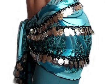 rectangular green turquoise belly style scarf