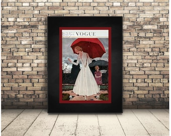 Vogue Poster Fashion High Resolution Digital Download Collage of Elegant Umbrella Haute Couture French Fashion. Home Decor. Wall Art. Print.